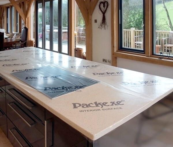 Packexe Interior Surface film protector on a worktop